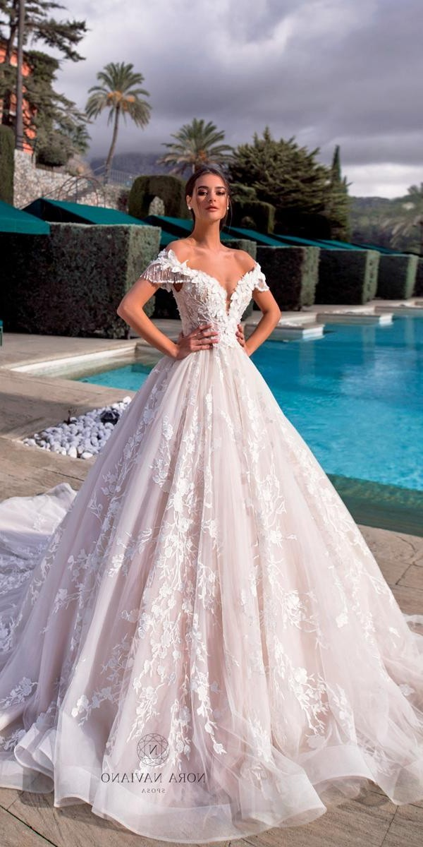 sweetheart wedding dresses ball gown blush lace off the shoulder noranaviano