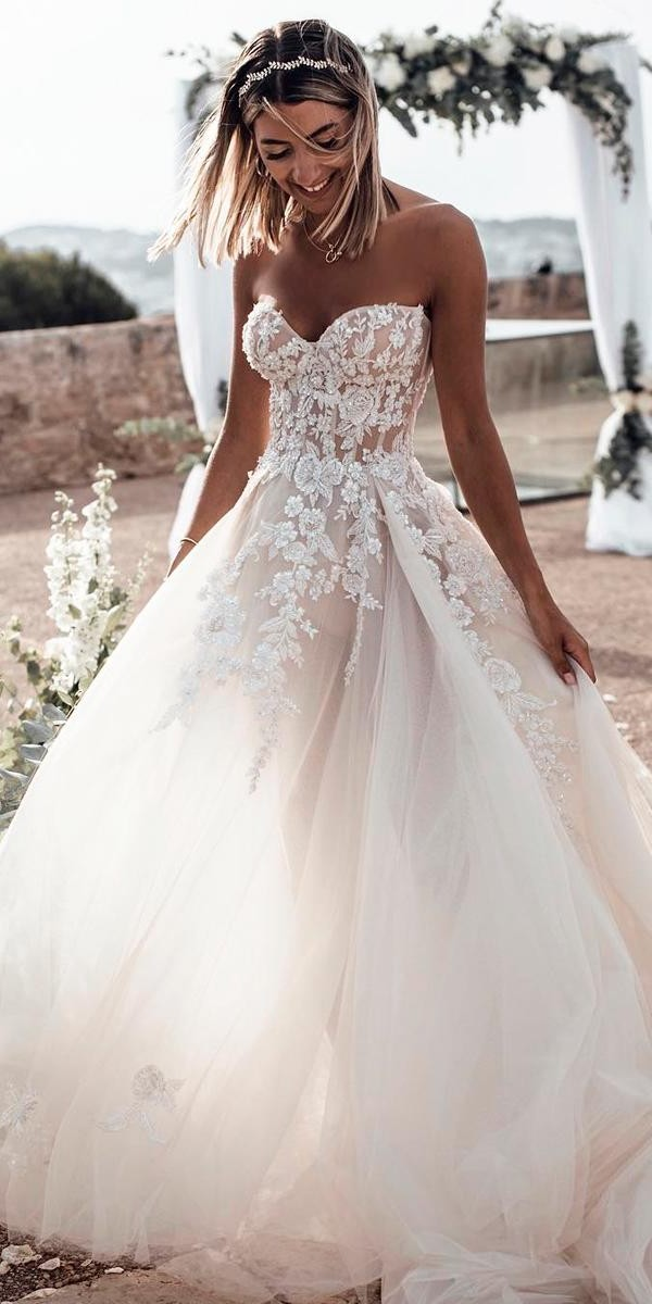 sweetheart wedding dresses ball gown lace strapless floral applique tali