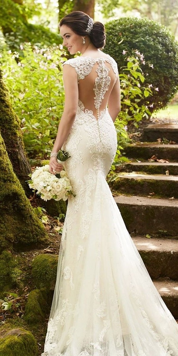 tattoo effect wedding dresses fit and flare lace with train martinalianabridal