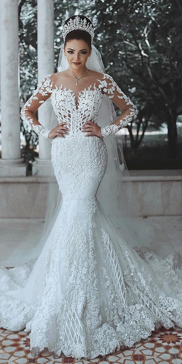 trumpet wedding dresses with long sleeves illusion necklne lace luxury said mhamad