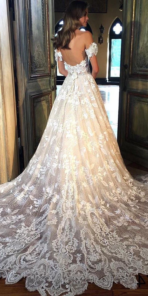 unique lace wedding dresses a line off the shoulder eveofmilady