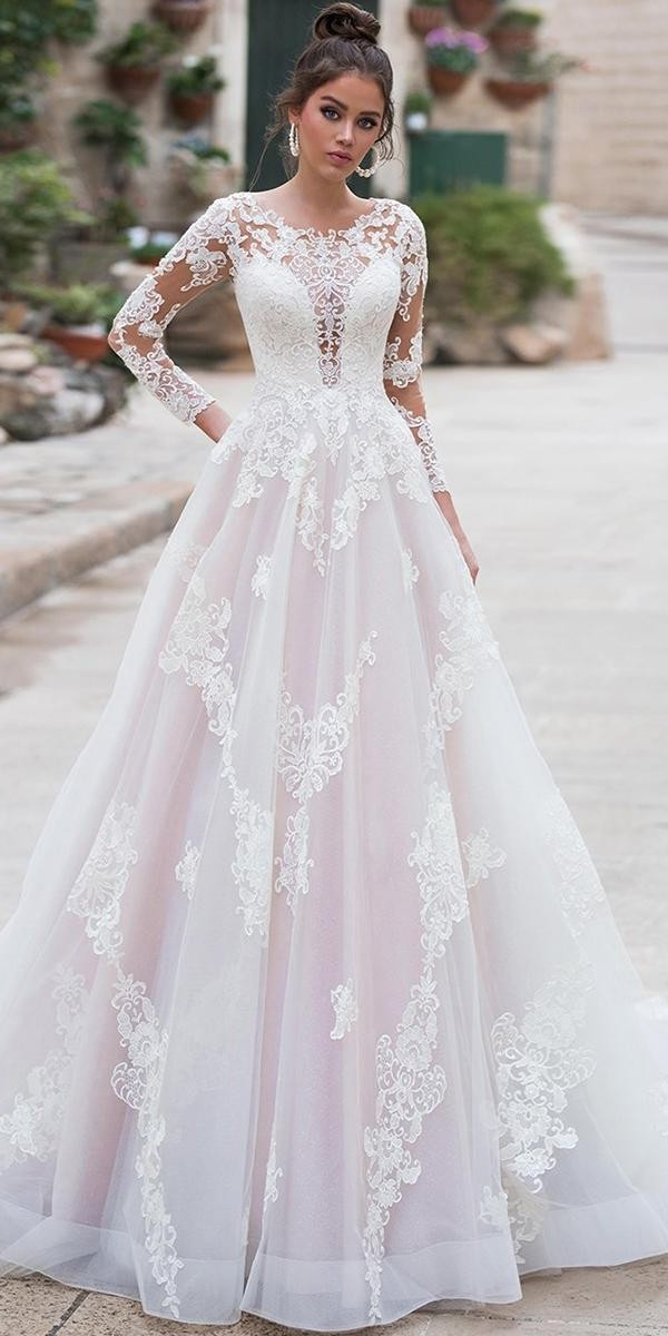 unique lace wedding dresses a line with illusion long sleeves navibluebridal