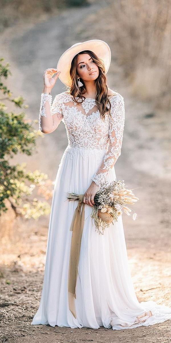 unique lace wedding dresses a line with long sleeves lace top country maggie sottero