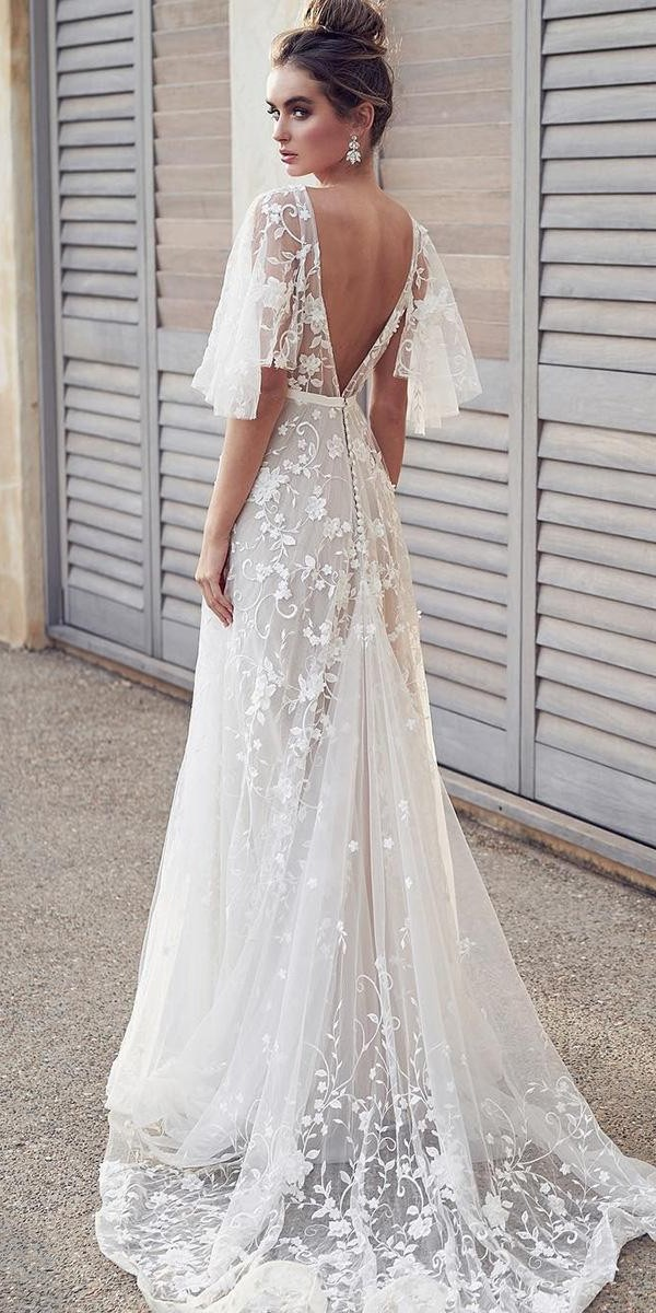 wedding dresses 2019 a line v back floral lace with flowy sleeves anna campbell