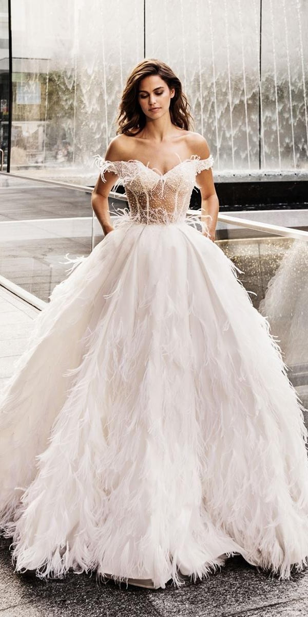 wedding dresses 2019 ball gown off the shoulder sweetheart neckline feathers alessandroangelozzicouture