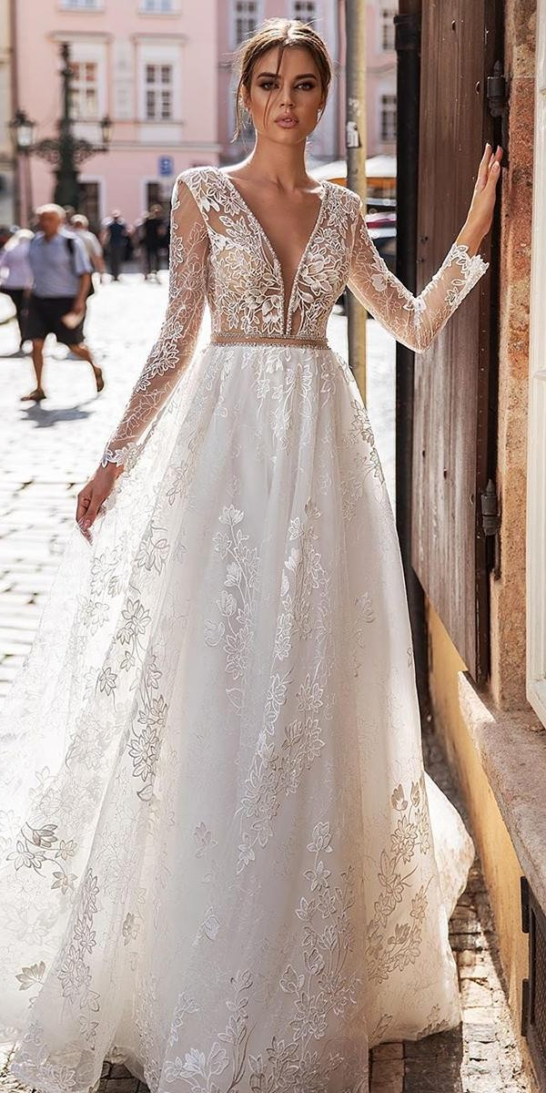wedding dresses with lace sleeves illusion a line plunging neckline katycorso