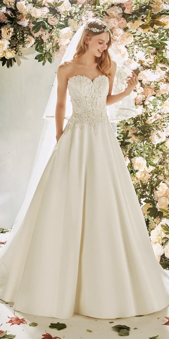 a line wedding dress sweetheart neckline open back cyclamen