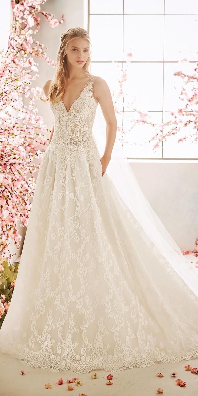 a line wedding dress v neck bluebell