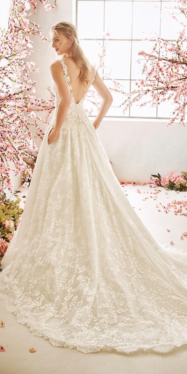a line wedding dress v neck bluebell2