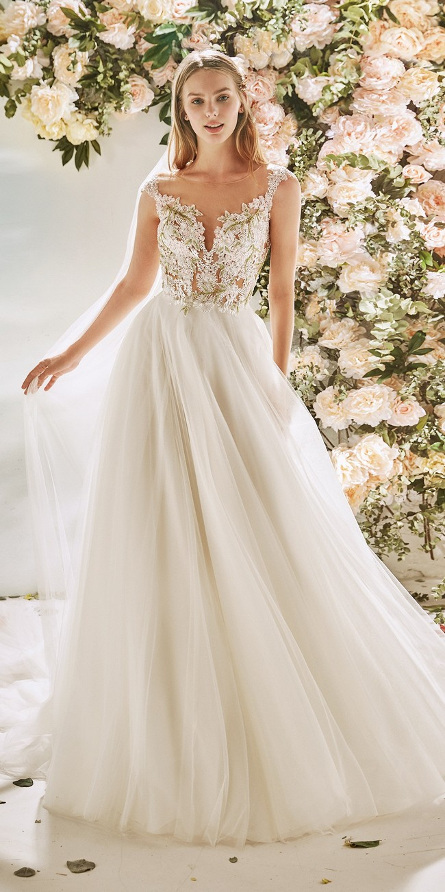 evase wedding dress straps embroidered tulle carnation
