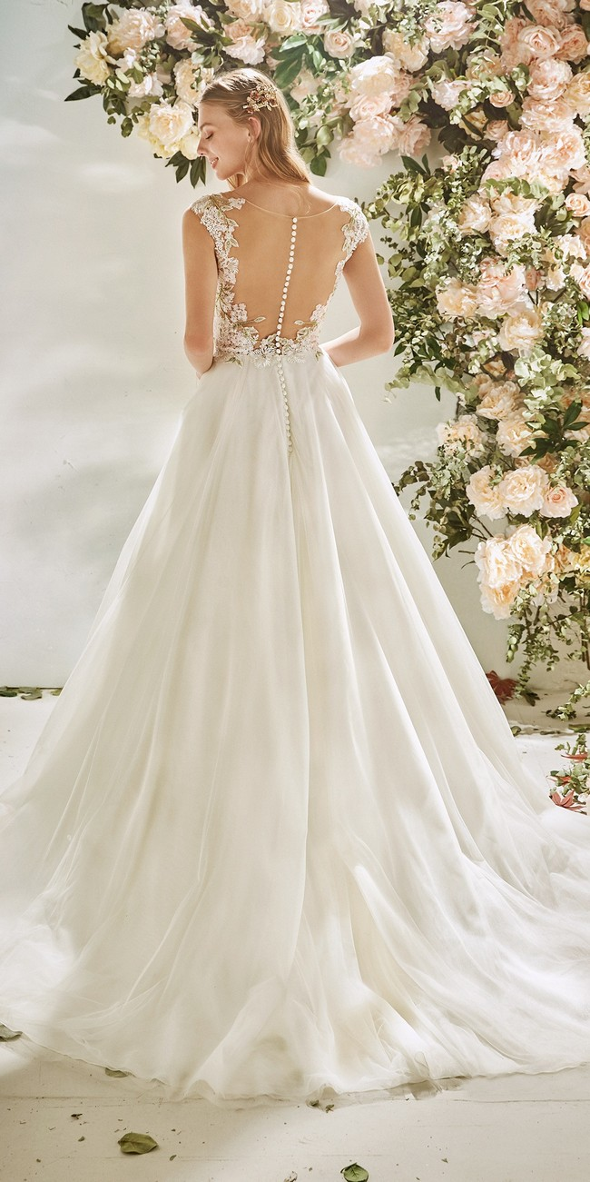 evase wedding dress straps embroidered tulle carnation2