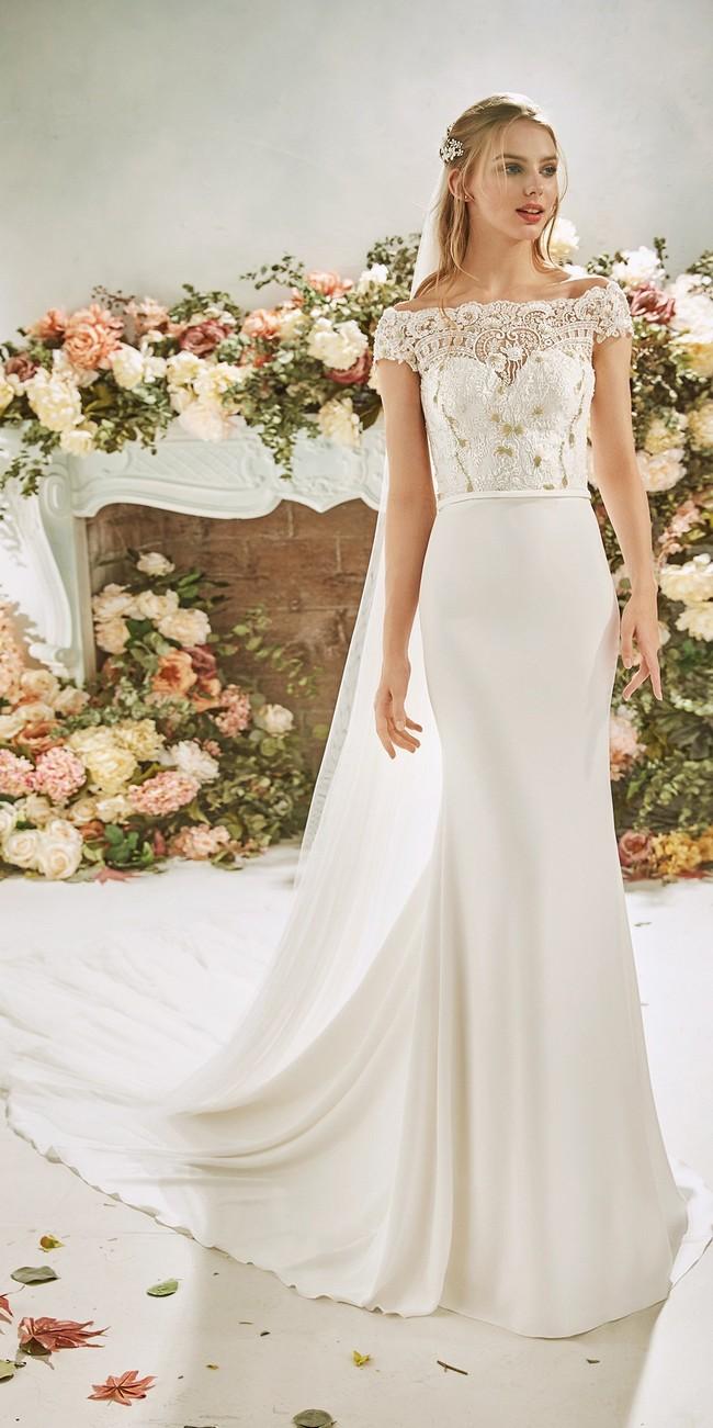 mermaid wedding dress bateau neckline cap sleeves crepe juniper