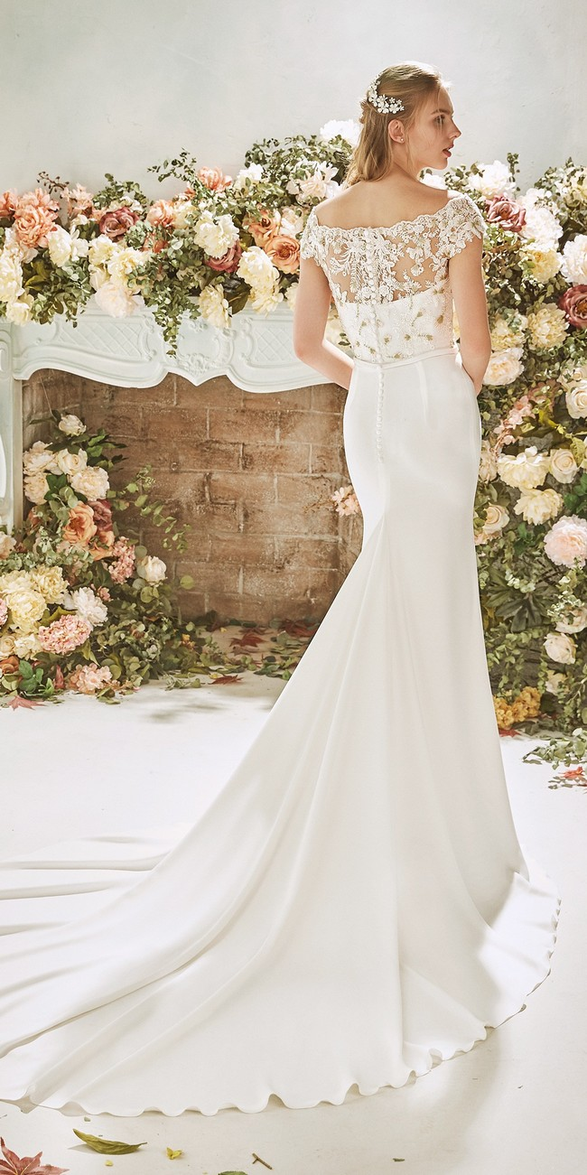 mermaid wedding dress bateau neckline cap sleeves crepe juniper2
