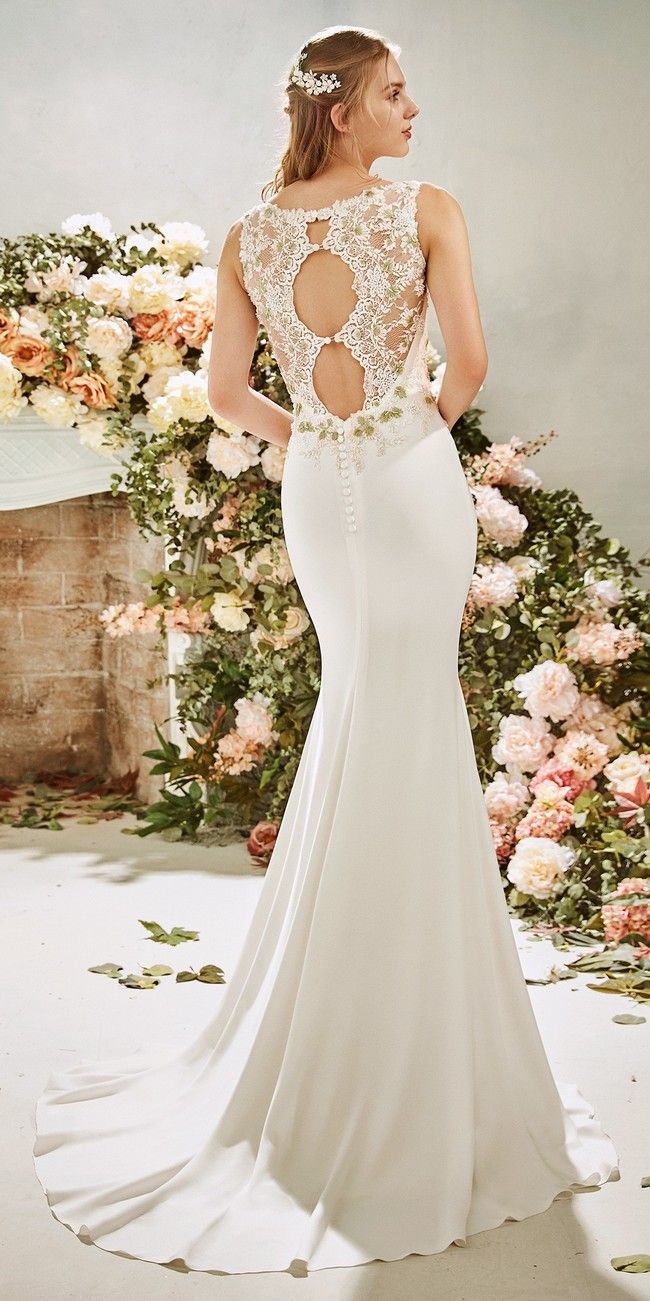 mermaid wedding dress bateau neckline crepe allium2