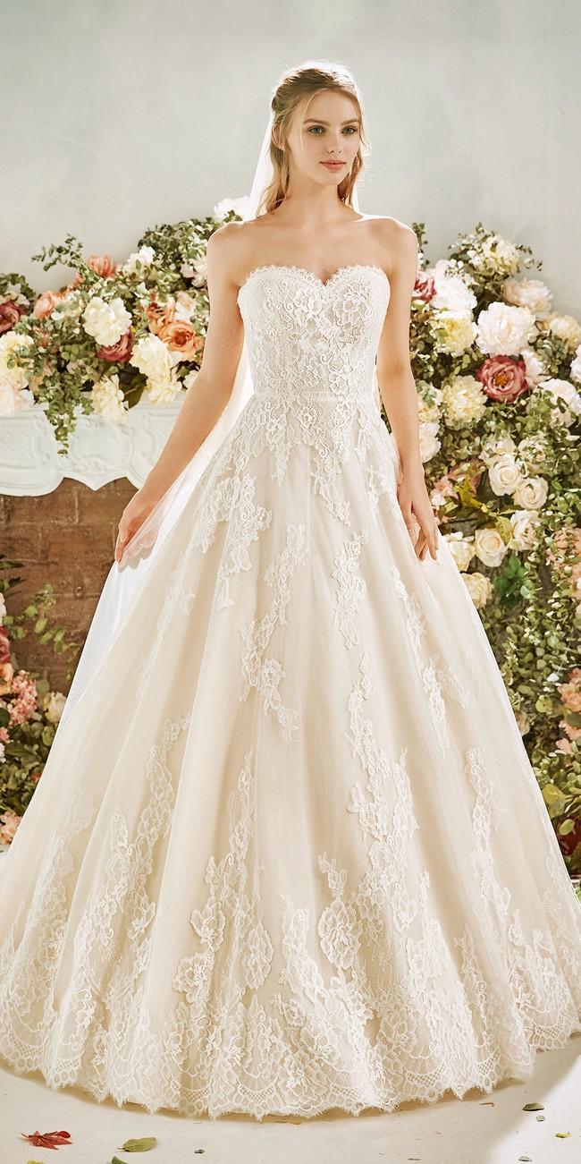 princess cut wedding dress sweetheart neckline open back liatris