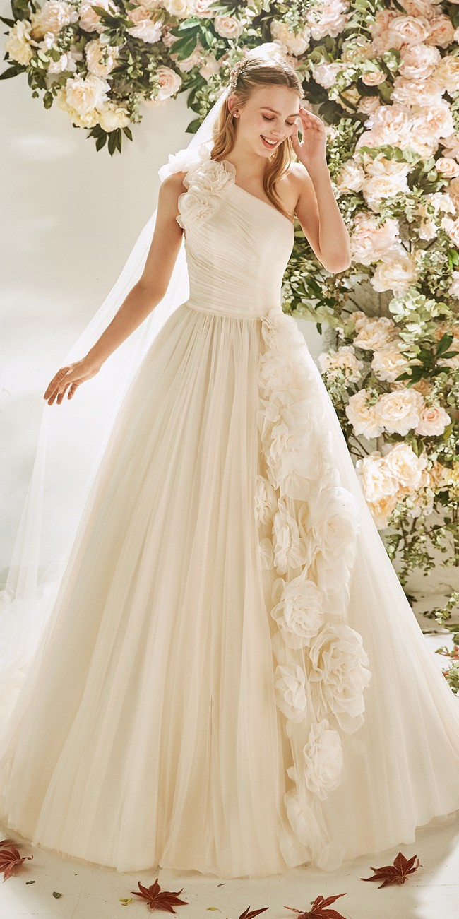 princess wedding dress asymmetric neckline boronia