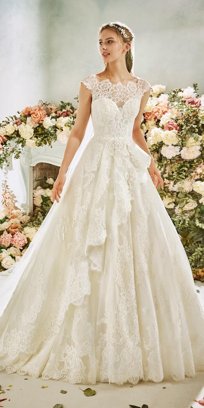 princess wedding dress bateau neckline cap sleeves buttercup