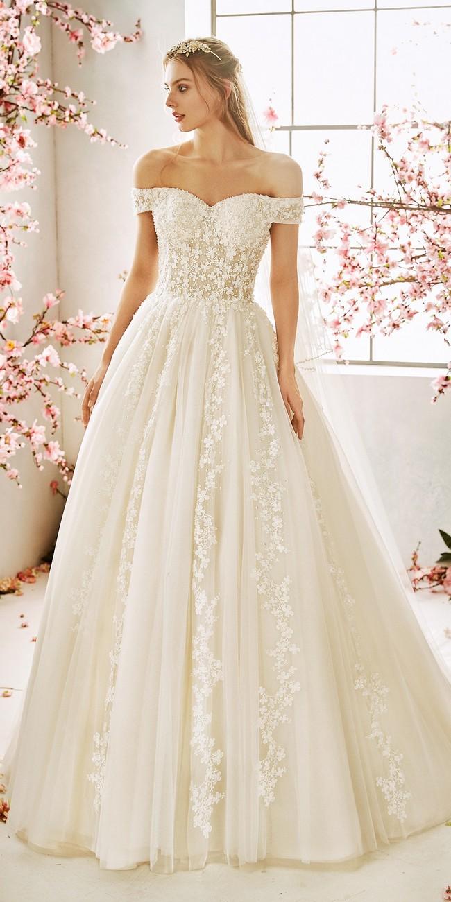 princess wedding dress off the shoulder sleeves blossom