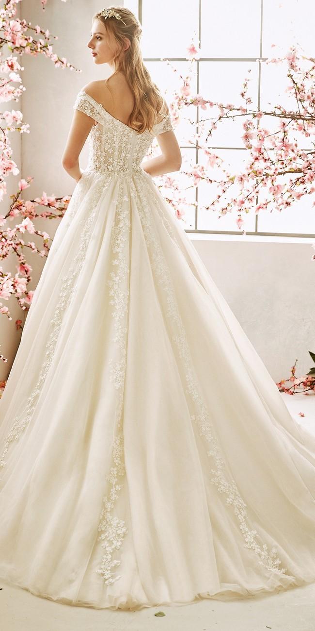 princess wedding dress off the shoulder sleeves blossom2