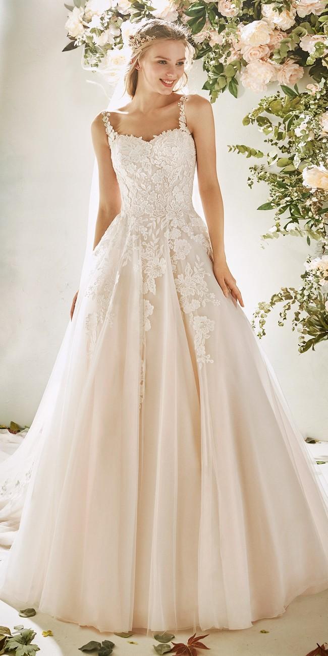 princess wedding dress straps embroidered tulle hydrangea