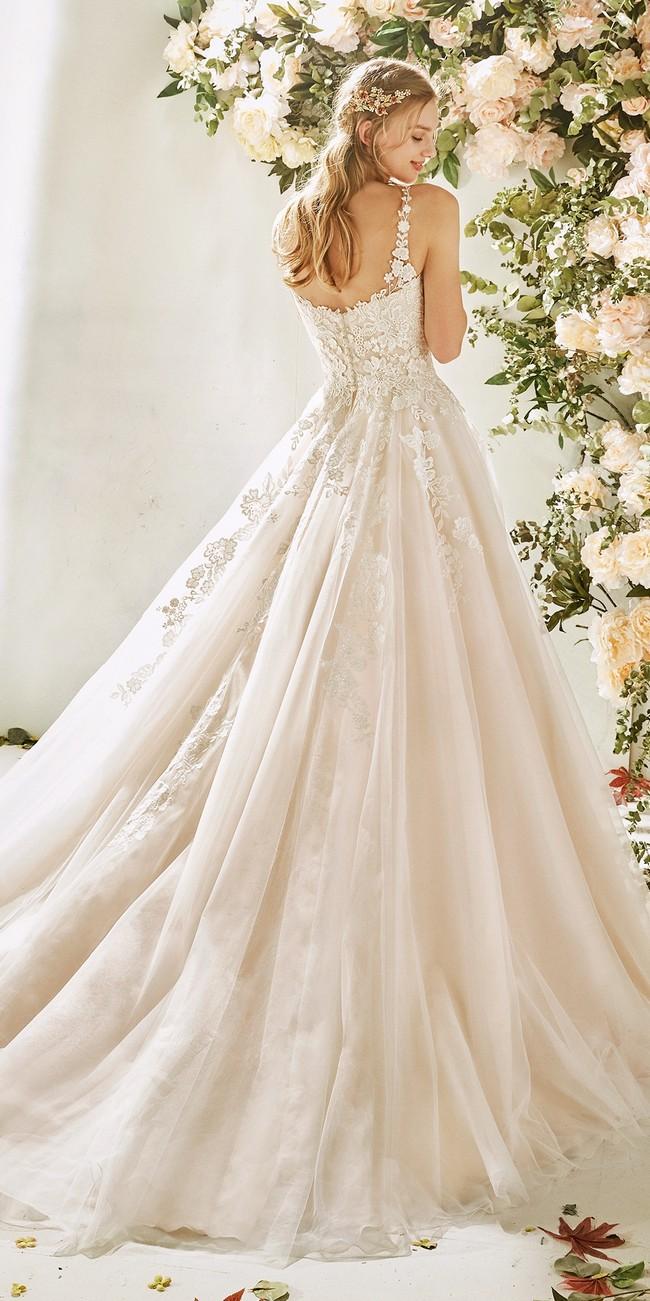 princess wedding dress straps embroidered tulle hydrangea2