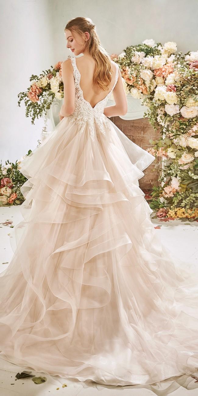 princess wedding dress v neck embroidered tulle fabric gerbera2