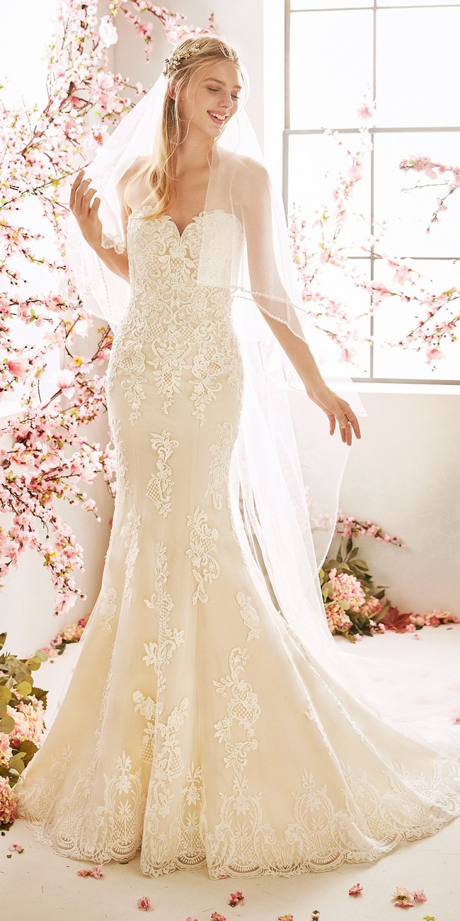 wedding dress mermaid silhouette sweetheart neckline open back embroidered tulle ammi
